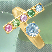 birthstone family bar ring