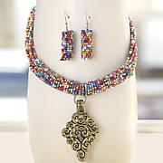 Multicolored Bead Scroll-Drop Necklace/Earring Set