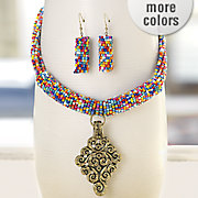 multicolored bead scroll drop necklace earring set