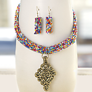 multicolored bead scroll drop necklace earring set