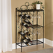 scrolled metal wine rack
