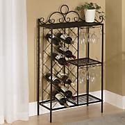 scrolled metal wine rack