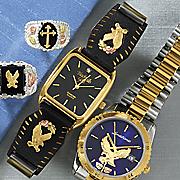 men s black hills gold blue face watch