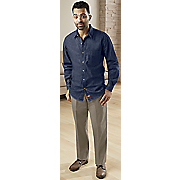 classic denim long sleeve shirt and flat front khaki pant by dickies