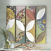 set of 4 patchwork floral art