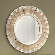 weathered sunburst wall mirror
