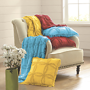 colorful chenille throw and pillow