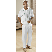 white polo pant set by michael irvin