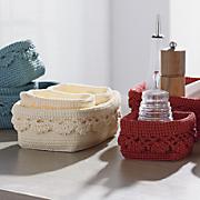 set of 3 mode crochet baskets