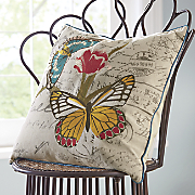 Embroidered Butterfly Pillow