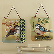 set of 2 fused glass bird decor
