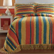 Zoey Stripe Chenille Bedspread and Sham