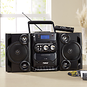 portable boom box with am fm radio and cassette player by naxa
