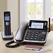 corded cordless phone system with answering machine  caller id and call waiting by at t
