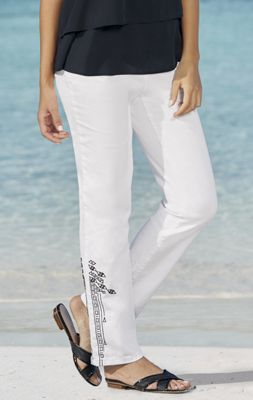 Embroidered Contrast Pant