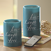 Set of 2 Teal Live Laugh Love LED Candles