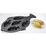 cast iron fish cornbread pan