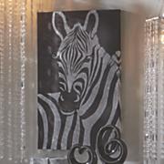 silver glitter zebra canvas
