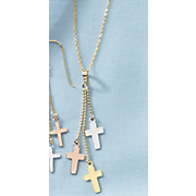 10K Tri-Color Cross Dangle Necklace