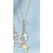 10k tri color cross dangle necklace