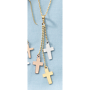 10k tri color cross dangle necklace