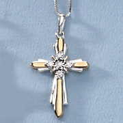 two tone diamond cross pendant