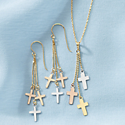 10K Tri-Color Cross Jewelry