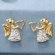 Child's Cubic Zirconia Angel/Heart Earrings