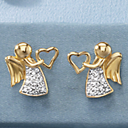 child s cubic zirconia angel heart earrings