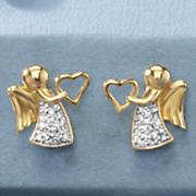 child s cubic zirconia angel heart earrings