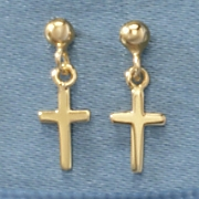 Child's Cross Drop Post Earrings
