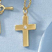 child s cubic zirconia cross pendant