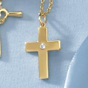 child s cubic zirconia cross pendant