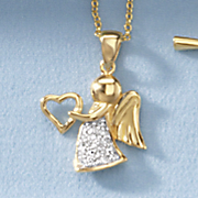 child s cubic zirconia angel heart pendant