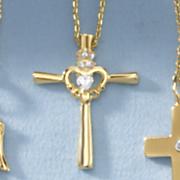 child s cubic zirconia cross heart pendant