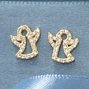 child s cubic zirconia angel post earrings