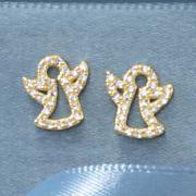 child s cubic zirconia angel post earrings