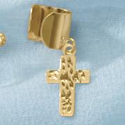 10k gold diamond cut cross charm ear cuff
