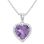 heart semi precious stone cubic zirconia pendant by rebecca sloane