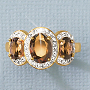 Chocolate & White Crystal 3-Stone Ring
