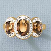 chocolate   white crystal 3 stone ring