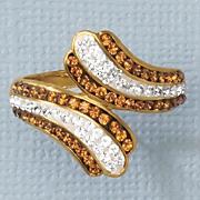 chocolate   white crystal swirl ring