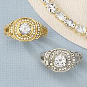 white topaz circle ring