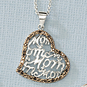 Black Diamond Heart Mom Pendant
