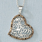black diamond heart mom pendant