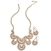 crystal crescent necklace earring set