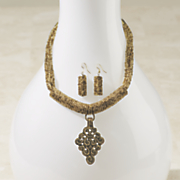 medallion necklace earring set