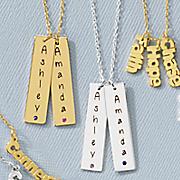 name birthstone bar necklace