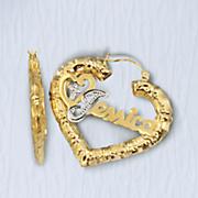 name religious heart earrings
