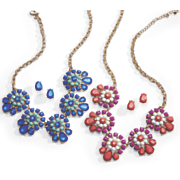 colorful clusters necklace earrings set